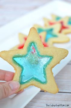 """Stained Glass"" Red, White and Blue Star Cookies for your  4th Of July Party"