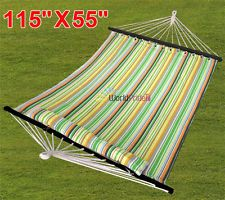 Yaheetech Hammock Quilted Fabric with Pillow Double Size Spreader Bar Heavy Duty to Set Up Green -- Check out the image by visiting the link. (This is an affiliate link) Hammock Swing Chair, Swinging Chair, Spreader Bar, Hanging Beds, Tiny Treasures, Garden Supplies, Beach Mat, Hammocks, Camping Hammock