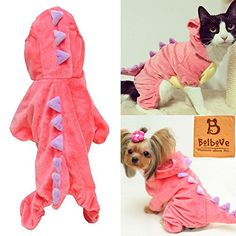 Pet Plush Outfit Dinosaur Costume with Hood for Small Dogs & Cats Jumpsuit Winter Coat Warm Clothes (Pink, Small) Bolbove http://www.amazon.com/dp/B01417UR6Y/ref=cm_sw_r_pi_dp_CmzYwb1DTD02Q 70 each