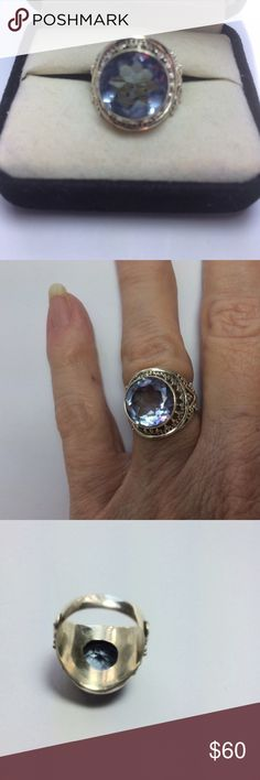 STERLING SILVER SETALEXANDRITE COLOR CHANGING Awesome Color Changing Alexandrite (LAB CREATED) Heavy weight Silver set Size 6 Ring NWOT Jewelry Rings