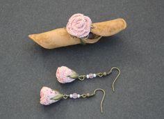 Parure boucles d'oreilles et bague au crochet - fil coton - coloris vieux rose…