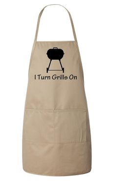 Items similar to I Turn Grills On Men's Apron Funny Father's Day Gift Idea Father Dad Grandfather - Tan and Black on Etsy