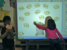 Have one child hold the word and the class reads it aloud.  the child at the smart board finds it and puts it in the tub. Great ideas! Thanks!