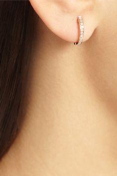 ANITA KO Huggy 18-karat rose gold diamond hoop earrings