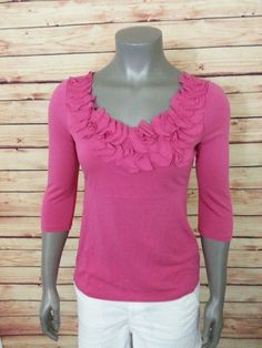 Boden knit top ruffle floral scoop neck womens size 4 US 8 UK #Boden #KnitTop #Casual