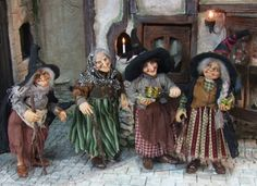 Sculpted from polymere clay, a group of witches by CDHM artist Silke Janas-Schloesser