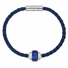 Swarovski Crystal Revolution Blue Leather Bracelet for him