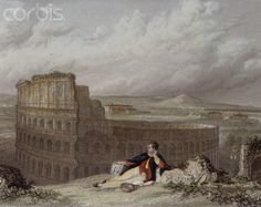Lord Byron Contemplating the Colosseum in Rome by Arthur Willmore or James Tibbets Willmore. #travel #Byron #poet