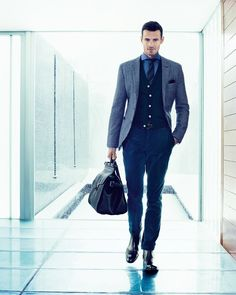 Navy suit with dress boots