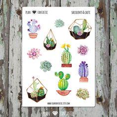 Watercolor Bullet Journal Stickers - Succulent - Cactus - deco - bujo by planfantastic