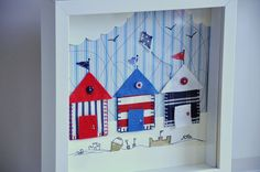 Made to order  personalized nautical art  Beach huts