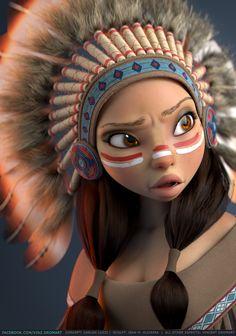 """Native American"" - Vincent Dromart {character illustration female head Indian woman face portrait digital painting}"