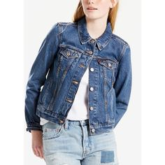 Levi's Original Denim Trucker Jacket, a Style ($50) ❤ liked on Polyvore featuring outerwear, jackets, dance blues, jean jacket, trucker jacket, levi jacket, blue denim jacket and blue jean jacket