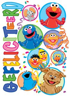 Verjaardagskaart van Sesamstraat