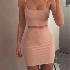 2 Piece Spaghetti Strap Pink Bodycon Dress,Cocktail Dress,Sexy Fitted Homecoming Dress