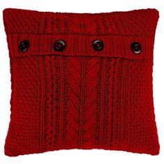 Red Cable Knit Button Wool Blend 18x18 Pillow ($30) ❤ liked on Polyvore featuring home, home decor, throw pillows, red, red toss pillows, red throw pillows, red home accessories, button throw pillow and red accent pillows