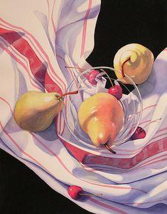 Janice Sayles - Three Plus Four Watercolor Fruit, Fruit Painting, Watercolor Cards, Watercolor Flowers, Painting Prints, Painting & Drawing, Watercolor Paintings, Hyperrealism, Photorealism