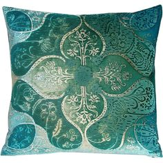 """Kevin O'Brien Studio Persian Aqua Pillow - 20"""""""" ($350) ❤ liked on Polyvore featuring home, home decor, throw pillows, pillows, fillers, cushions, furniture, velvet accent pillows, anchor home decor and aqua toss pillows"""