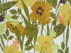 VIntage Mid Century Waverly Leaves Of Grass Fabric Gold Green Brown Floral