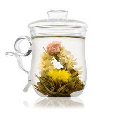 Coffret mug fleur de thé avec tasse mug en verre soufflé: Amazon.fr: Cuisine & Maison