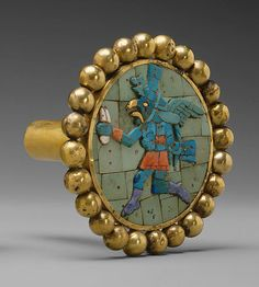 Earflare, Winger Messenger  Date: 3rd–7th century Geography: Peru Culture: Moche Medium: Gold, turquoise, sodalite, shell