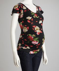 Take a look at this Black Floral & Lace Maternity Top on zulily today!