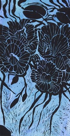 "Pistia 2, 24""x12""x2"", woodcut on paper mounted on wooden panel"
