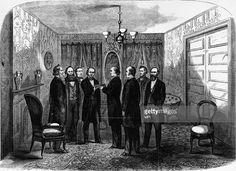 Andrew Johnson takes the oath of office from Salmon P. Chase, Chief Justice, in the parlor of Kirkwood House, Washington, after the assassination of Abraham Lincoln. Frank Leslie's Illustrated Newspaper. Original Artwork: Engraving published in Frank Leslie's Illustrated Newspaper.