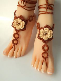 Yellow-Brown Crochet Barefoot Sandals, Nude shoes, Foot Jewelry, Wedding, Victorian Lace, Sexy, Yoga, Anklet , Bellydance, Steampunk, Beach