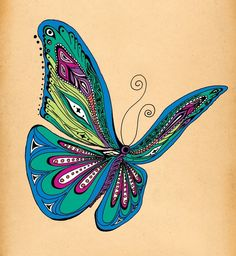 Butterfly. Could do zentangle in the wings. Softer colors of course cause that's just who I am.