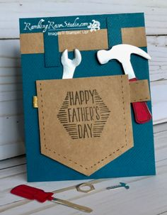 Yesterday I said wedding season is coming and we need to be prepared...but Father's Day will also be here before you know it.  And the Nailed It stamp set com