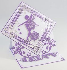 Tonic Fairy Card Fancy Fold Cards, Folded Cards, Tonic Cards, Stepper Cards, Tattered Lace Cards, Spellbinders Cards, Birthday Cards For Women, Shaped Cards, Easel Cards