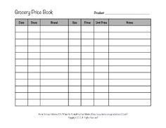 Free printable grocery price book template form, so you can compare prices at the grocery store for the rock bottom price {on Home Storage Solutions 101}