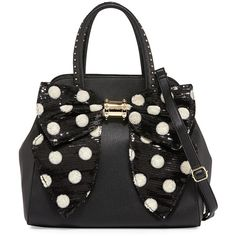 Betsey Johnson Oh Bow Sequined Faux-Leather Satchel Bag ($74) ❤ liked on Polyvore featuring bags, handbags, black crea, vegan purses, bow purse, black studded handbag, betsey johnson satchel and studded purse