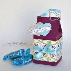 by Gayle Wheeler, Stampingville.  Easy Mini Milk Carton Valentine Treat Holder