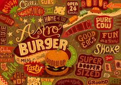 Linzie Hunter - burger themed placemat design for the Burgermat night