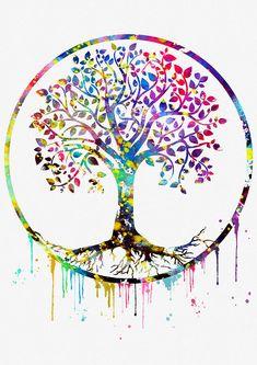 Tree Of Life Artwork, Tree Of Life Painting, Tree Art, Wallpaper Tree Of Life, Tableau Pop Art, Awareness Tattoo, Summer Crafts For Kids, Handprint Art, Colorful Trees