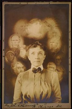 """[""""Spirit"""" photograph, supposedly taken during a seance, actually a double exposure or composite of superimposed cut-outs, showing woman with portraits of men and women around her head] Old Pictures, Old Photos, Antique Photos, Pretty Pictures, Vintage Photographs, Vintage Images, Paranormal, Spirit Photography, Ghost Photography"""