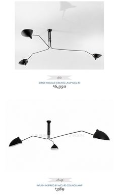 #SergeMouille #Ceiling #Lamp MCL-R3 $6350 - vs - #Infurn Inspired by MCL-R3 $389