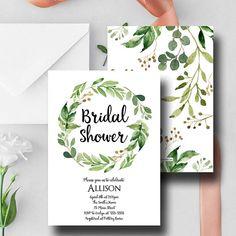 Green Floral Bridal Shower Invitation Greenery Floral