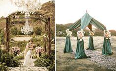 Với những đám cưới ngoài trời, không gian rộng, bạn có thể làm cổng hoa cầu kỳ.
