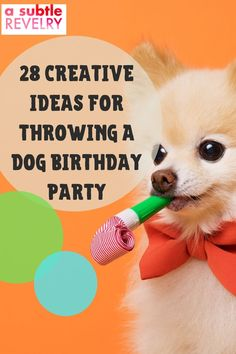 Nowadays celebrating your dog's birthday is just as important as celebrating your kid's. A Subtle Revelry has some great birthday party ideas for your beloved puppy. Check out our list of over two dozen creative ideas that include decorations, treats and fun games for everyone. Our guide includes 28 different party features like treats and games that your dog can enjoy and add to the celebration mood. So check out our report. You can download here… #dogbirthday #dogbirthdayparty #fundogparty Dog Birthday, Birthday Parties, Diy Wax, Balloon Backdrop, Love Balloon, Holiday Candles, Colourful Balloons, For Your Party, Holiday Festival