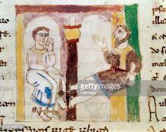 Fine art : Prison Scene. Miniature from De Universo (De Rerum Naturis), by Rabanus Maurus Magnentius a.k.a Rabanus Maurus (c.780_856). 9th century. Archives of the Abbey of Montecassino, Montecassino, Italy