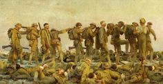 John Singer Sargent (1856-1925), American / Gassed, 1919 ... depicts row of WWI British soldiers blinded by a mustard gas attack following each other across battlefield linked by raised arms / Imperial War Museum, London, UK