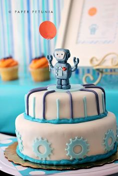Robot Party ⚜ themed cake