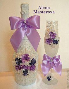 Garrafa customizada com lilas