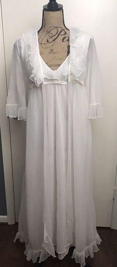 Vintage Nylon Negligee Bridal Set Gown Nightgown & Robe Size Small    eBay