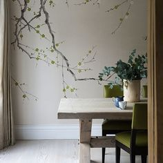 Pale-neutral-dining-room-with-wallpaper-of-de-gournay-Remodelista