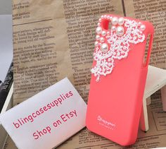 Watermelon red soft silicone iphone 4s case white Lace pearls