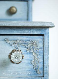 CloseUp of Dixie Belle's Gold Wax + Plearl Ex on Raised Stencilled Dresser | by Denise at Salvaged Inspirations #raisedstencil #furnituremakeover #paintedfurniture #siblog